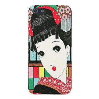 Okura, chica japonés con la flor en el IP de la mo iPhone 5 Funda