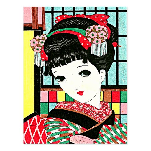 Okura Japanese Geisha Girl Post Cards