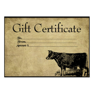 Ol' Bessy Cow- Prim Gift Certificate Cards Business Card Templates