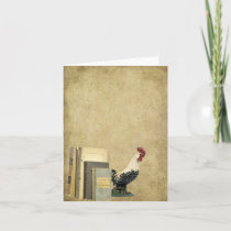 Ol' Books -n- Rooster- Prim Little Note Card