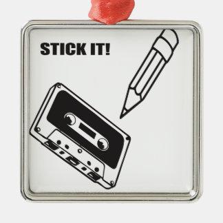 ol school cassette square metal christmas ornament