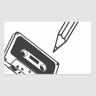 ol school cassette rectangular sticker