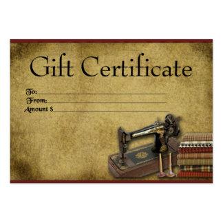 Ol' Singer & Fabric- Prim Gift Certificate Cards