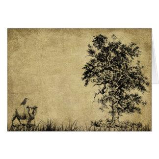 Ol Tree, Sheep & Crow- Prim Lil Note Card