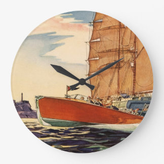 Ola oceánica antigua del barco de motor del velero reloj redondo grande
