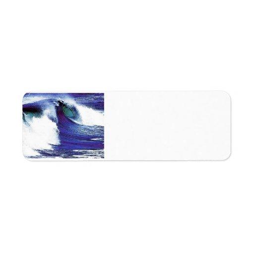 Ola oceánica azul etiqueta de remite