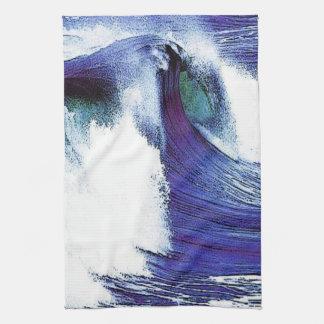Ola oceánica azul toalla de cocina