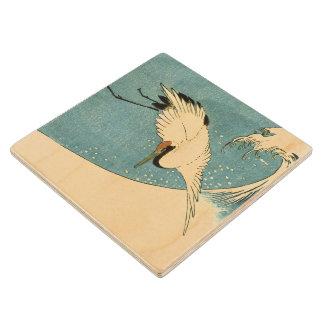 Ola oceánica de la grúa del vuelo del vintage posavasos de madera