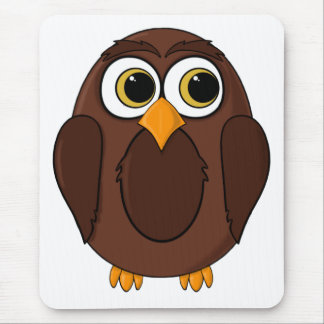 Ola the Wise Owl Cartoon Mouse Pads