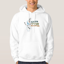 Men's Basic Hooded Sweatshirt with Frozen's Olaf: Always Up for Adventure design