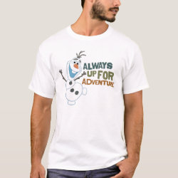 Men's Basic T-Shirt with Frozen's Olaf: Always Up for Adventure design