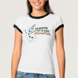 Ladies Ringer T-Shirt with Frozen's Olaf: Always Up for Adventure design