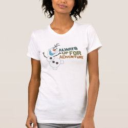 Women's American Apparel Fine Jersey Short Sleeve T-Shirt with Frozen's Olaf: Always Up for Adventure design