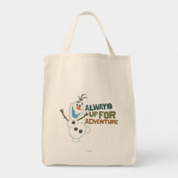 Grocery Tote with Frozen's Olaf: Always Up for Adventure design