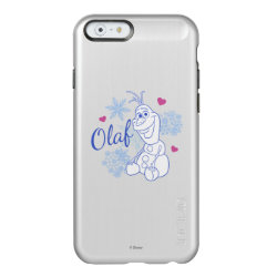 Incipio Feather® Shine iPhone 6 Case with Cute Frozen's Olaf Line Drawing with Snowflakes and Hearts design