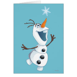 Greeting Card with Olaf reaching for a Snowflake design