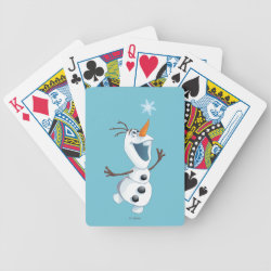 Playing Cards with Olaf reaching for a Snowflake design