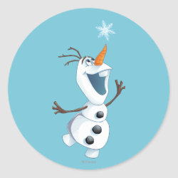 Round Sticker with Olaf reaching for a Snowflake design