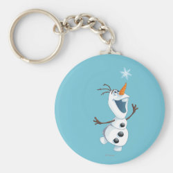 Basic Button Keychain with Olaf reaching for a Snowflake design