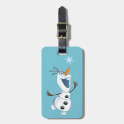 Small Luggage Tag with leather strap with Olaf reaching for a Snowflake design