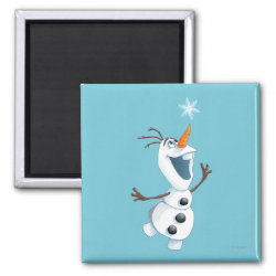 Square Magnet with Olaf reaching for a Snowflake design