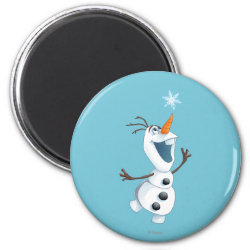 Round Magnet with Olaf reaching for a Snowflake design