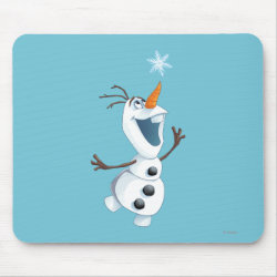 Mousepad with Olaf reaching for a Snowflake design