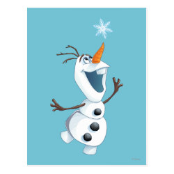 Postcard with Olaf reaching for a Snowflake design