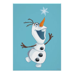 Matte Poster with Olaf reaching for a Snowflake design