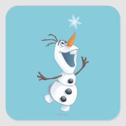 Square Sticker with Olaf reaching for a Snowflake design