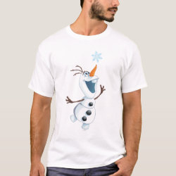 Men's Basic T-Shirt with Olaf reaching for a Snowflake design