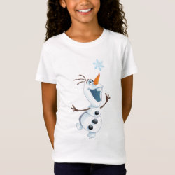 Girls' Fine Jersey T-Shirt with Olaf reaching for a Snowflake design