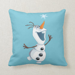 Cotton Throw Pillow with Olaf reaching for a Snowflake design