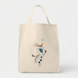 Grocery Tote with Olaf reaching for a Snowflake design