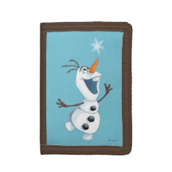 TriFold Nylon Wallet with Olaf reaching for a Snowflake design