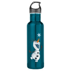 Water Bottle (24 oz) with Olaf reaching for a Snowflake design