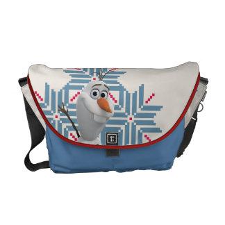 Olaf   Blue Snowflake Messenger Bag