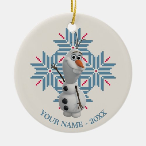 Olaf Blue Snowflake Personalized Double-Sided Ceramic Round Christmas Ornament