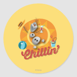 Round Sticker with Frozen's Olaf the Snowman Chillin' design