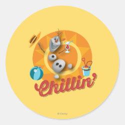 Round Sticker with Frozen's Olaf the Snowman Chillin' design