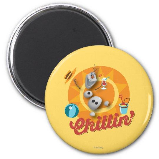 Olaf | Chillin' in Orange Circle Magnet