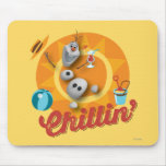 Olaf | Chillin' in Orange Circle Mouse Pad