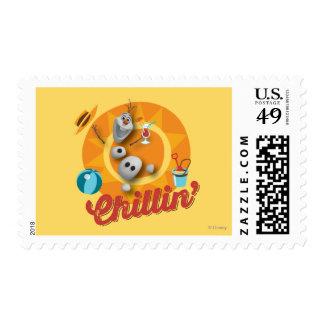 Olaf   Chillin' in Orange Circle Postage