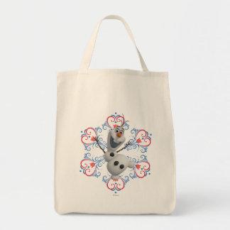 Olaf con el marco del corazón bolsa tela para la compra