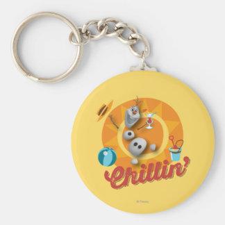 Olaf el | Chillin en círculo anaranjado Llavero Redondo Tipo Pin