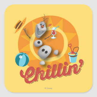 Olaf el | Chillin en círculo anaranjado Pegatina Cuadrada