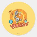 Olaf el | Chillin en círculo anaranjado Pegatina Redonda