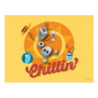 Olaf el | Chillin en círculo anaranjado Tarjeta Postal