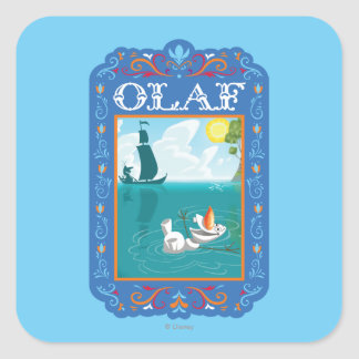 Olaf Floating in the Water Square Sticker