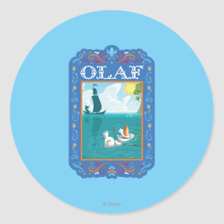 Olaf Floating in the Water Classic Round Sticker